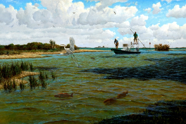 Working the spoils david drinkard giclee canvas polling for South texas fishing