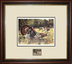 Ken Carlson - 1987 TEXAS TURKEY STAMP PRINT FRAMED