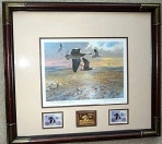 Texas Duck Stamp Prints - 1985 Texas Waterfowl Framed Medallion Stamp Print By John Cowan Medallion and Signed & Unsigned Stamp