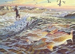 Texas Saltwater Stamp Prints - 1988 Redfish by Herb Booth