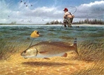 Texas Saltwater Stamp Prints - 1990 Redfish by John Dearman